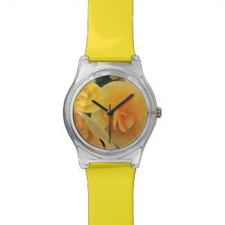 Relógio amarelo da flor