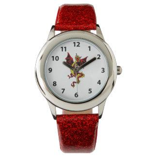 Relógio amarelo e vermelho do dragão