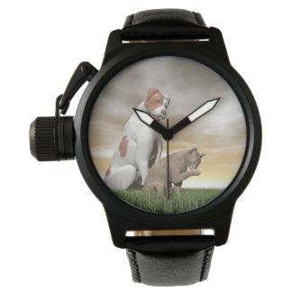 Relógio Amizade do cão e gato - 3D rendem