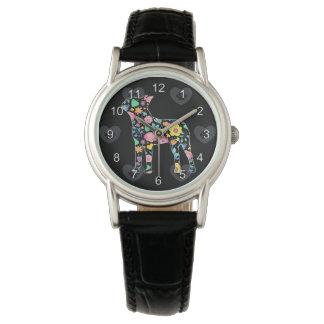 Relógio Amor bonito meu design floral de Boston Terrier