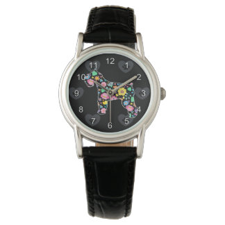 Relógio Amor bonito meu design floral do Schnauzer