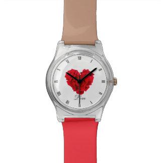 Relógio Amor dado forma coração da rosa vermelha