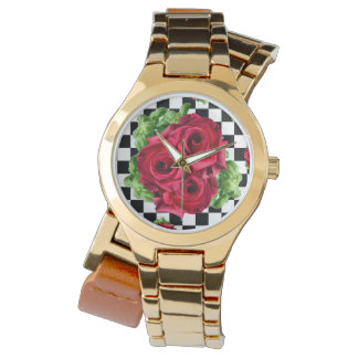 Relógio Amor floral do buquê das rosas vermelhas