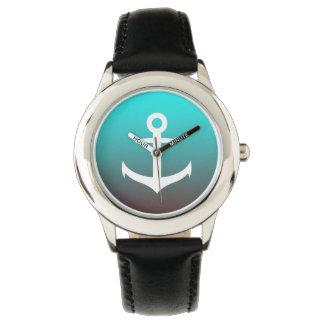 Relógio Âncora branca do vermelho | do aqua do inclinação