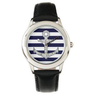 Relógio Âncora náutica do rosa branco