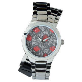 Relógio Anêmona, cinzas/cinza e vermelho de William Morris