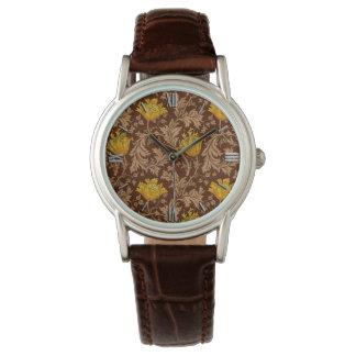 Relógio Anêmona de William Morris, Brown e ouro da