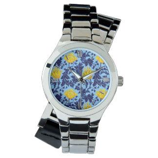 Relógio Anêmona de William Morris, marinho e amarelo da