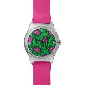 Relógio Anêmona de William Morris, verde esmeralda e