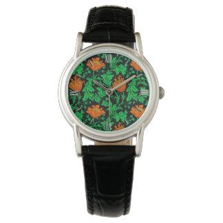 Relógio Anêmona, laranja, verde e preto de William Morris