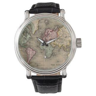relógio antigo do mapa do mundo