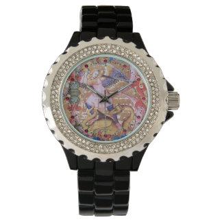 Relógio Arcanjo de St Michael e floral antigo do dragão
