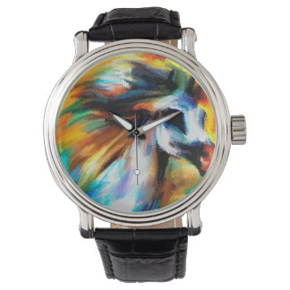 Relógio Arte abstrata GrayEquine branco bonito do cavalo