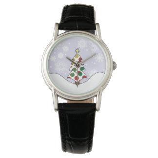Relógio Arte da árvore de Natal de Polkadot