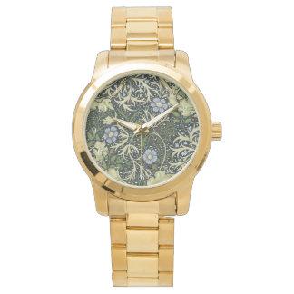 Relógio Arte floral do vintage do teste padrão da alga de