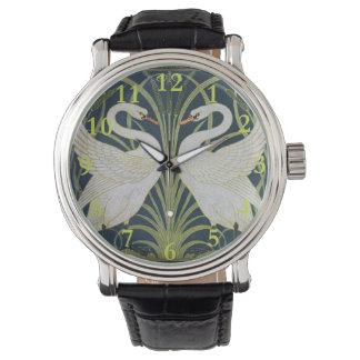 Relógio Arte Nouveau do vintage de duas cisnes