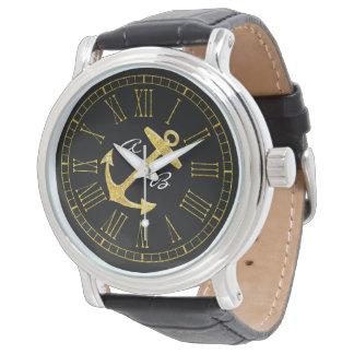 Relógio As iniciais da âncora do ouro personalizam