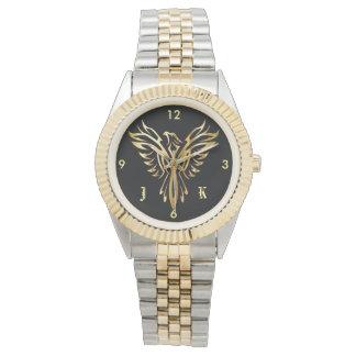 Relógio Ascensão dourada flamejante de phoenix com
