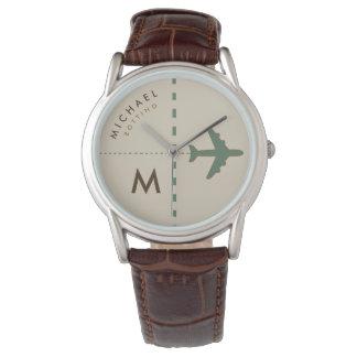 Relógio avião à moda com inicial & nome do piloto