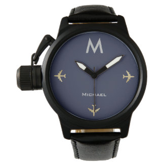 Relógio aviões elegantes com conhecido & o inicial, preto