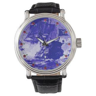 Relógio Azuis marinhos da BATALHA do NAVIO de PIRATA