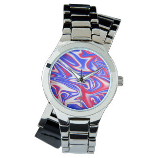Relógio Azul branco vermelho teste padrão Marbleized,