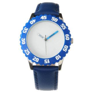 Relógio azul de aço inoxidável com moldura