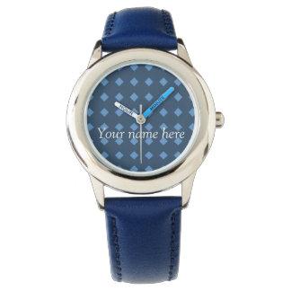 Relógio Azul de dois tons/relógio geométrico teste padrão