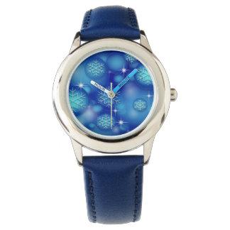 Relógio azul do floco de neve