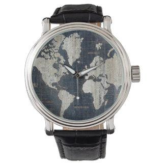 Relógio Azul do mapa de Velho Mundo