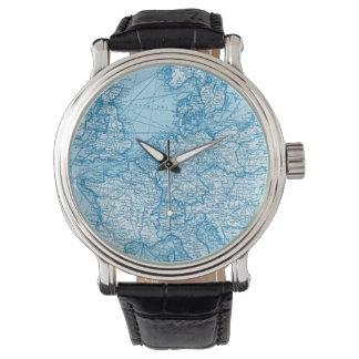Relógio azul do viagem do mapa do mundo do vintage