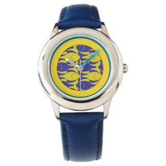 Relógio azul e amarelo dos peixes