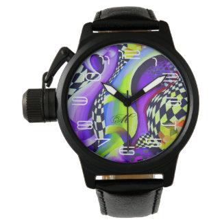 Relógio Azul elétrico abstrato retro e verde do Harlequin