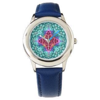 Relógio azul Groovy dos miúdos do vintage do