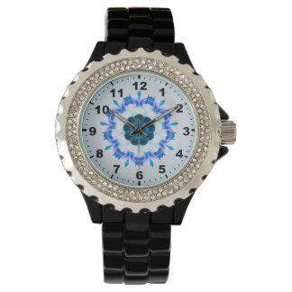 Relógio ~ azul Mottled ~ do Fractal da flor