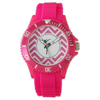 Relógio Bailarina branca cor-de-rosa do En Pointe de