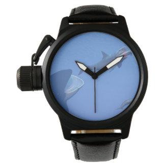 Relógio Baleias e megalodon subaquáticos - 3D rendem