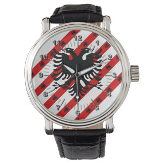 Relógio Bandeira albanesa das listras