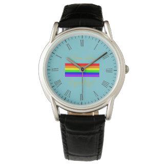 Relógio Bandeira do arco-íris do orgulho gay de LGBT! Hora