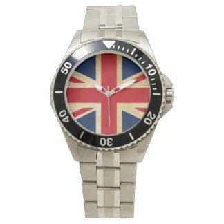 Relógio Bandeira velha Union Jack de Reino Unido do Grunge
