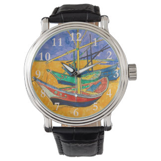 Relógio Barcos de Vincent van Gogh impressionista