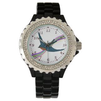 Relógio BlueBird crescente com arco-íris estilizado