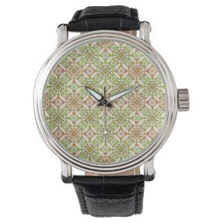 Relógio Boho floral estilizado colorido