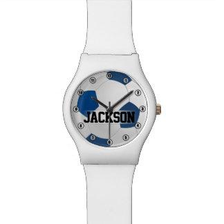 Relógio Bola de futebol azul com os miúdos do nome ou do