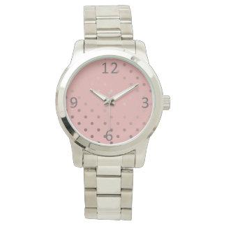Relógio bolinhas cor-de-rosa do rosa do ouro do falso