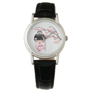 Relógio Boneca branca de Kokeshi do quimono - menina de