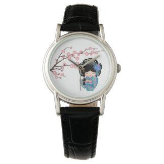 Relógio Boneca de Keiko Kokeshi - menina de gueixa azul do