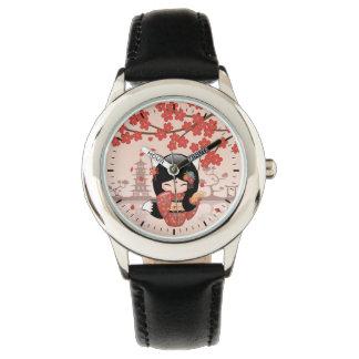 Relógio Boneca de Kitsune Kokeshi - menina de gueixa do