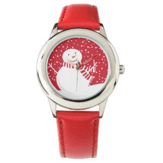 Relógio boneco de neve vermelho e branco contemporâneo