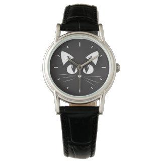 Relógio bonito da silhueta do gato